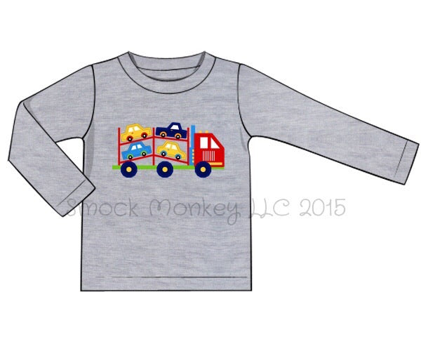 "Boy's applique ""CAR CARRIER"" gray long sleeve knit shirt (6m,12m,18m)"