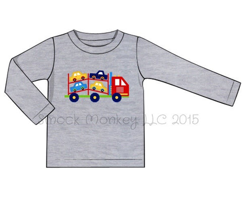 "Boy's applique ""CAR CARRIER"" gray long sleeve knit shirt (6m)"