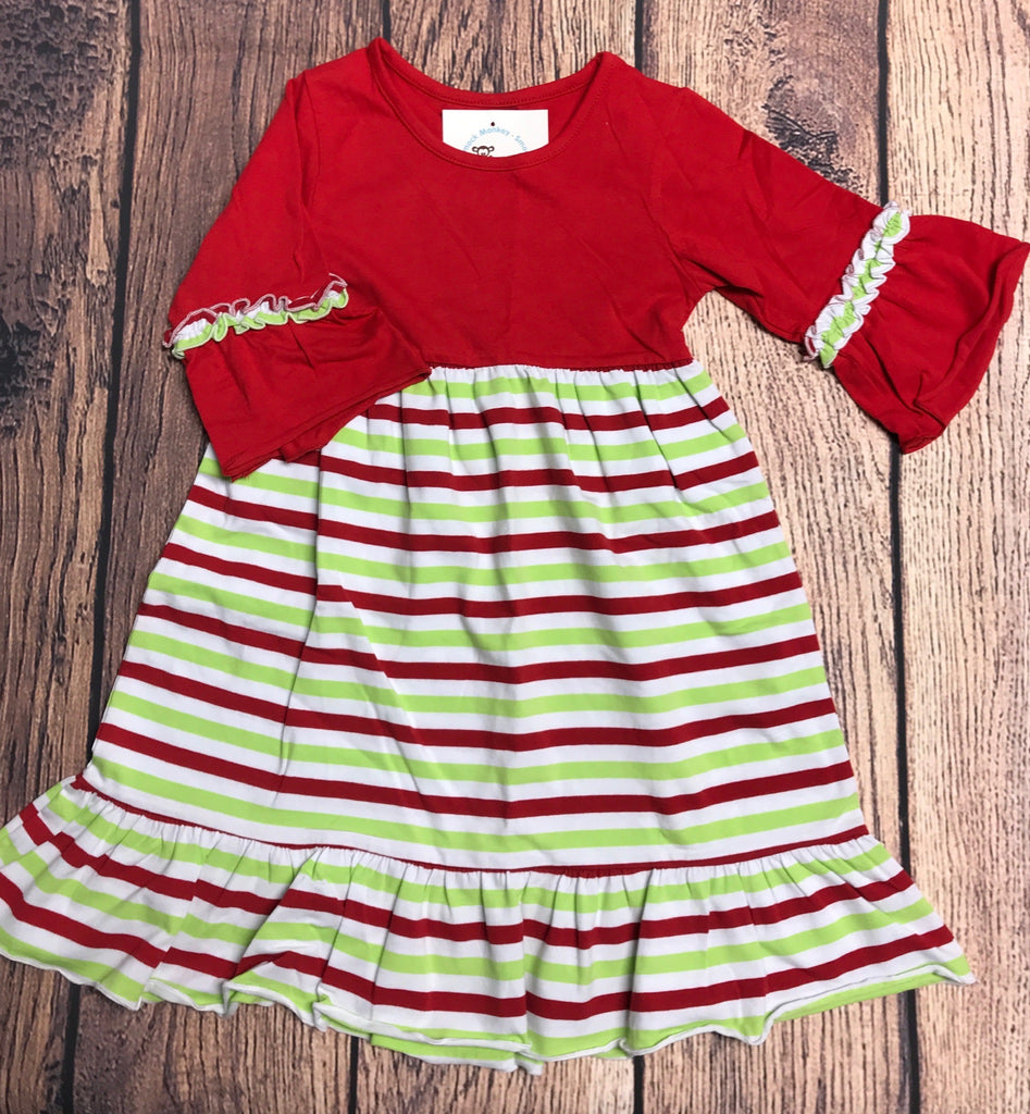 Girl's ST Solid red with Christmas stripe Charlotte dress (5t,6t,7t,8t,10t,12t)