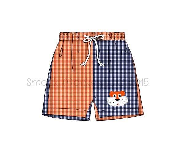 "Boy's applique ""TIGER"" navy and orange microgingham color block swim trunks (3m,6m,12m,18m,24m,2t,4t,5t,6t,7t)"