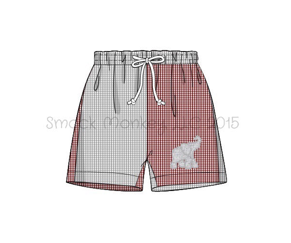 "Boy's applique ""ELEPHANT"" garnet and gray microgingham color block swim trunks (5t,6t,7t,8t,10t)"
