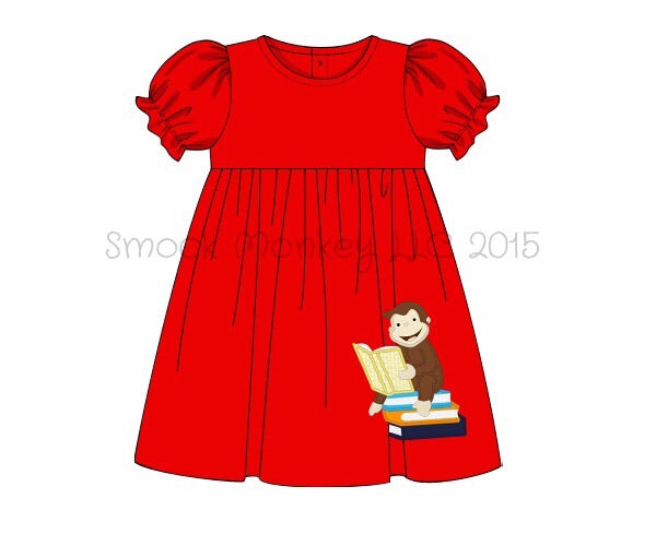 "Girl's applique ""GEORGE GOES TO SCHOOL"" red knit swing dress (24m,2t,3t,5t)"