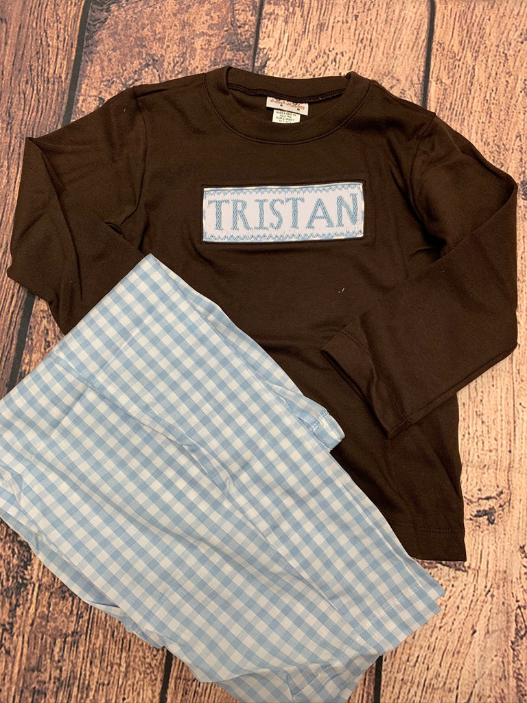 "Boy's smocked ""TRISTAN"" brown long sleeve shirt and blue gingham pant set (4t)"