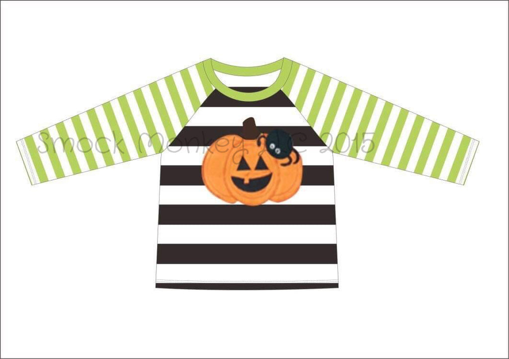 "Boy's applique ""PUMPKIN and SPIDER"" light green and black striped baseball shirt (12m,18m,24m,8t)"