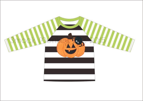 "Boy's applique ""PUMPKIN and SPIDER"" light green and black striped baseball shirt (12m,18m,24m,3t,4t,6t,7t,8t)"