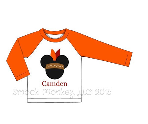 "Boy's applique ""INDIAN MOUSE"" white baseball shirt with orange sleeves (NO MONOGRAM) (24m,5t)"