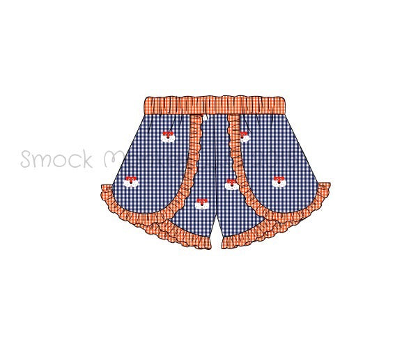 "Girl's embroidered ""TIGERS"" navy microgingham with orange trim shorts (3m)"