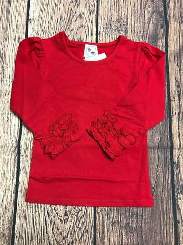Girl's red long sleeve icing ruffle shirt (18m,24m,2t,3t)