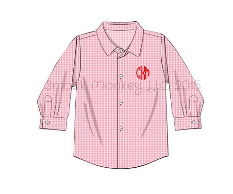 Boy's long sleeve button down pink microgingham shirt (NO MONOGRAM) (9m,12m,18m,24m,2t,5t,6t)