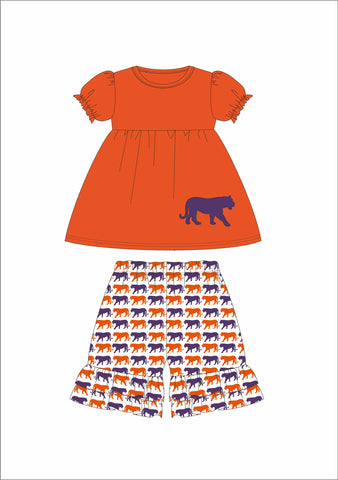 "Girl's applique ""TIGER"" orange short sleeve swing top and orange and purple print ruffle shorts *PRINT WILL BE SAME DIRECTION* (12m,18m,24m,2t,3t,5t,6t)"