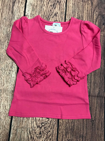 Girl's hot pink long sleeve icing ruffle shirt (18m,24m,2t,3t,4t,5t)
