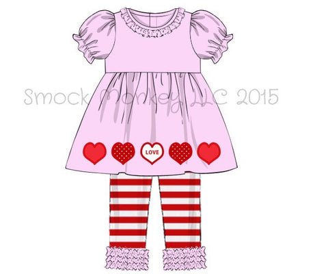 "Girl's applique ""LOVE HEARTS"" light pink swing top and red striped legging pant set (18m,24m,6t,7t)"