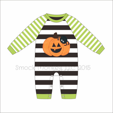 "Boy's applique ""PUMPKIN and SPIDER"" light green and black striped long sleeve romper (NB,3m,6m,9m,24m)"