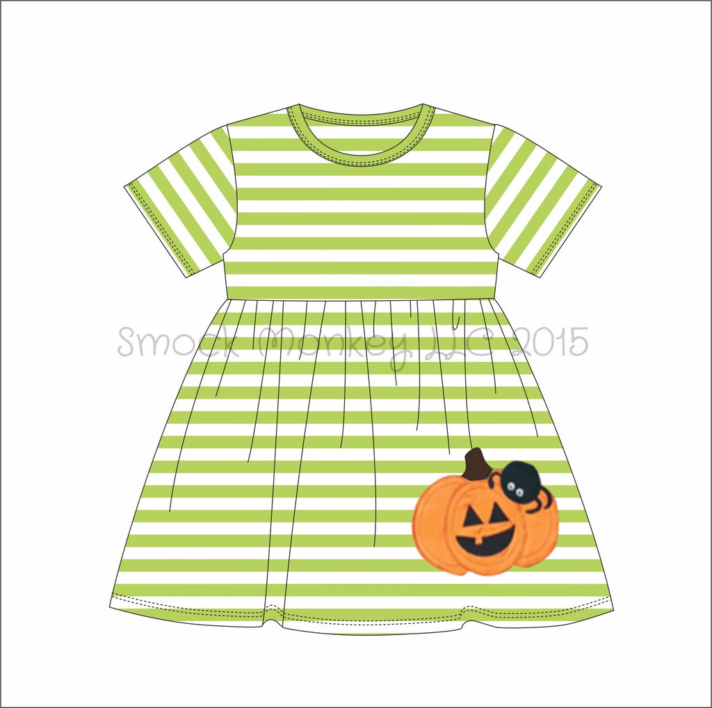 "Girl's applique ""PUMPKIN and SPIDER"" light green striped short sleeve swing dress (9m,12m,18m,24m,2t,3t,4t,6t,7t,8t)"