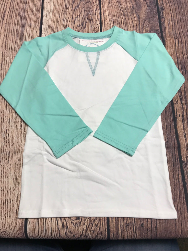 Girl's ST Baseball Tee with Mint Sleeves (10t,12t)