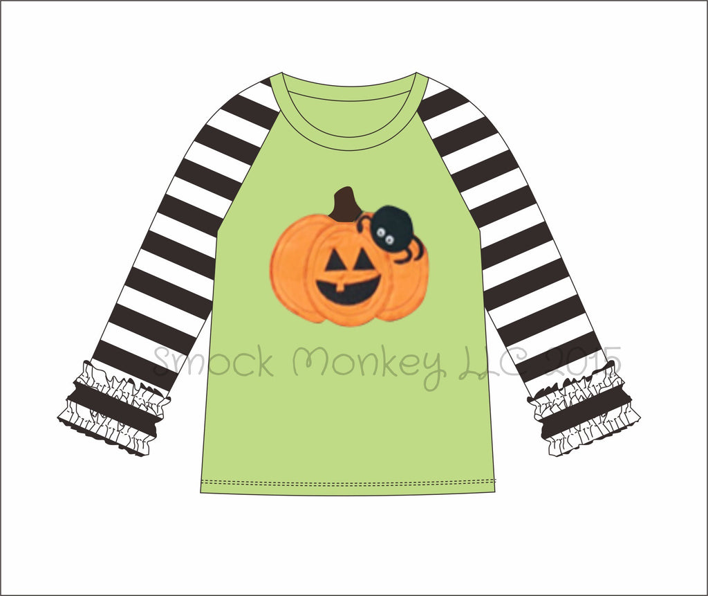 "Girl's applique ""PUMPKIN and SPIDER"" light green and black striped ruffle sleeve baseball shirt (24m,2t,3t,4t,5t,6t,7t,10t))"