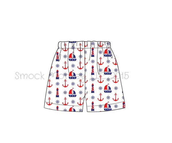 "Boy's ""ANCHORS AND SAILBOATS"" shorts (3m,6m,9m,12m,18m,24m,5t,8t)"