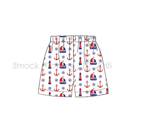 "Boy's ""ANCHORS AND SAILBOATS"" shorts (3m 6m 9m 12m 18m 24m 3t 4t 5t 7t 8t 10t)"