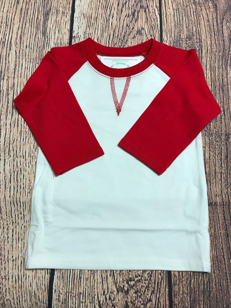 Girl's ST Baseball Tee with Red Sleeves (2t,3t,4t,5t)