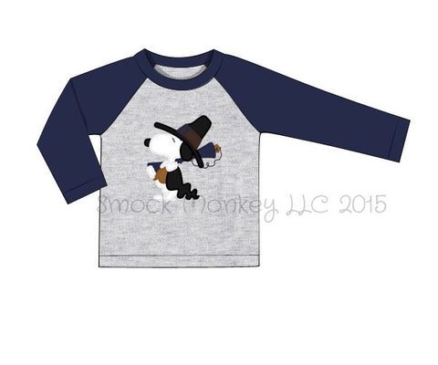"Boy's applique ""HUNTING PEANUT DOG"" gray baseball shirt with navy sleeves (18m,24m,10t)"