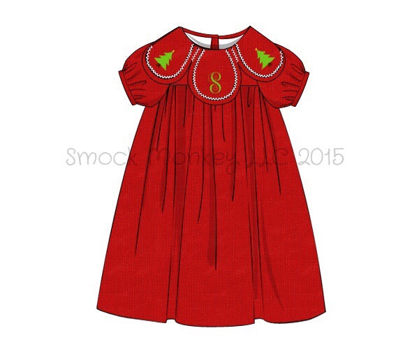 "Girl's embroidered ""CHRISTMAS TREE"" red corduroy petal dress (2018*see desc) (NO MONOGRAM) (3m,6m)"