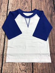 Girl's ST Baseball Tee with Royal Blue Sleeves (12m,18m,2t,3t)