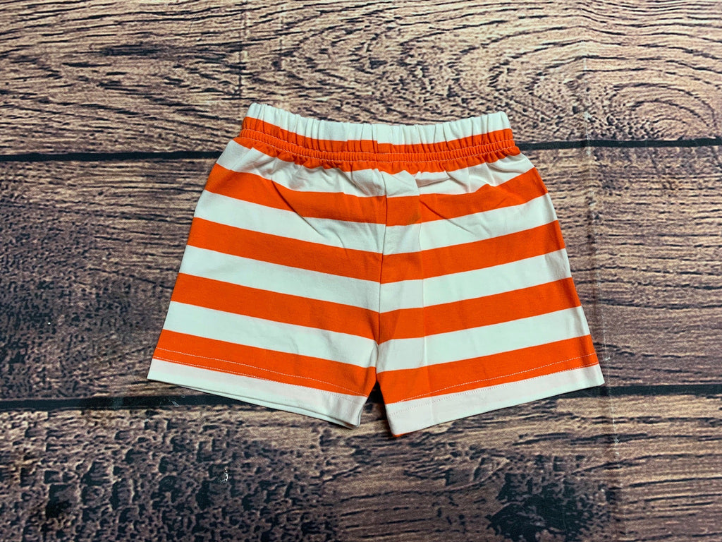 Boy's orange striped knit shorts (8t)