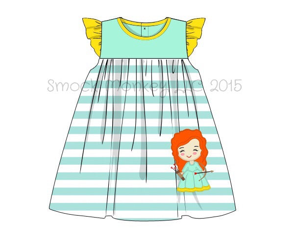 "Girl's applique ""Princess 1"" knit mint and yellow cap sleeve swing dress (24m,3t,4t,5t,6t,8t)"