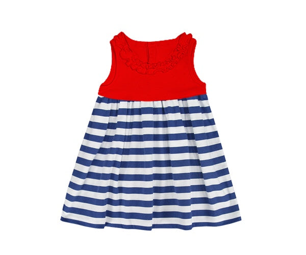 Girl's sleeveless red ruffle top with navy striped dress (12m,18m)
