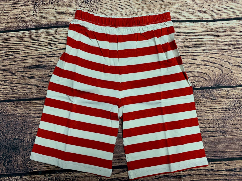 Boy's red striped longer length knit shorts (6m,18m,24m,2t,3t,4t,5t,6t,7t,8t)*