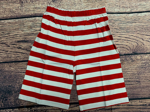 Boy's red striped longer length knit shorts (7t,8t)*