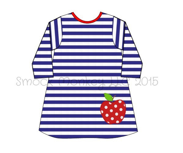 "Girl's applique ""POLKA DOT APPLE"" navy striped knit mid sleeve dress (18m,24m,2t,10t)"