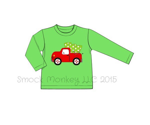 "Boy's applique ""BRINGING HOME THE TREE"" lime green knit long sleeve shirt (6m,24m,6t,8t)"