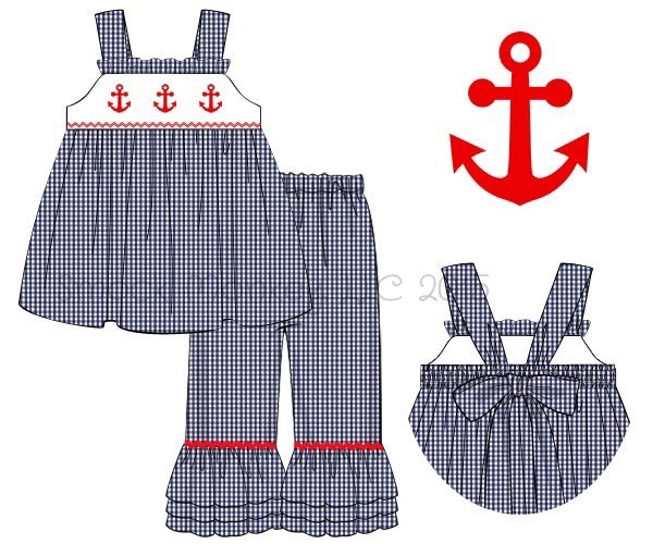 "Girl's smocked ""ANCHORS"" navy microgingham sleeveless swing top and CAPRI set (12m,2t,10t)"