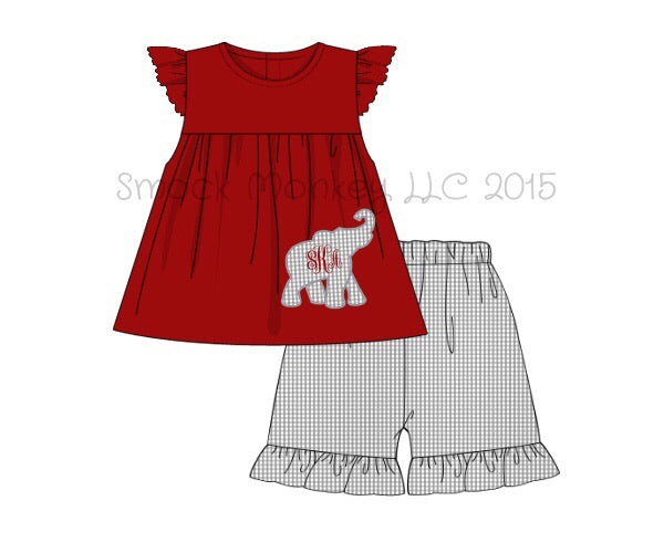 "Girl's applique ""ELEPHANT"" garnet knit swing top and gray microgingham ruffle short set (NO MONOGRAM) (12m,5t,7t)"