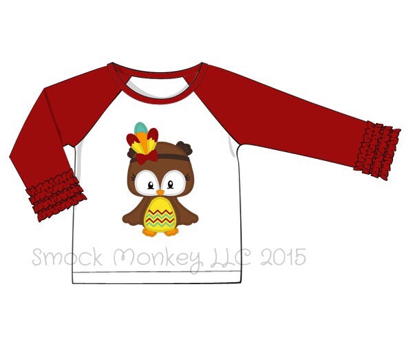 "Girl's applique ""OWL INDIAN"" baseball shirt with garnet ruffle sleeves (12m,5t,10t)"