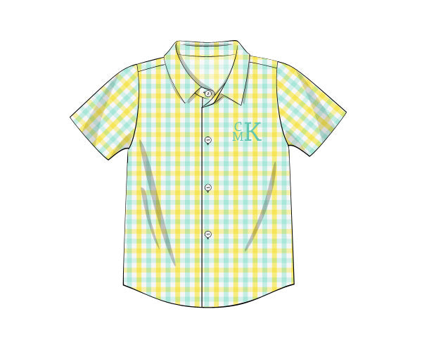 Boy's yellow and mint short sleeve button down shirt (NO MONOGRAM) (12m,24m,5t,6t,7t,10t)