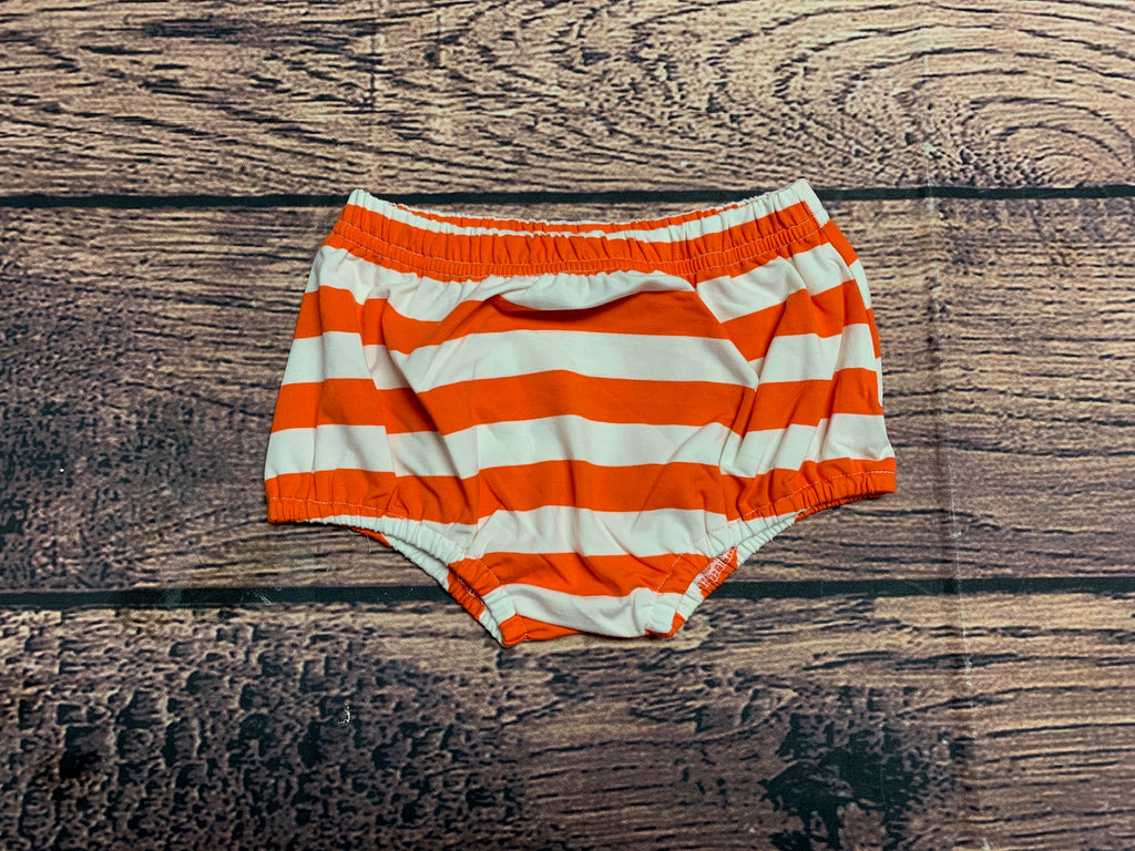 Boy's orange striped knit diaper cover (7t)