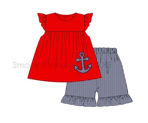 "Girl's applique ""ANCHORS"" red knit angel sleeve swing top and navy microgingham ruffle short set (8t,10t)"