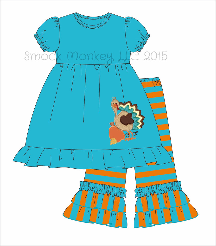 "Girl's applique ""GOBBLE, GOBBLE, TURKEY"" aqua short sleeve knit swing top and aqua/orange striped knit ruffle pants*see desc (3m,9m,12m,18m,24m,2t,4t,5t,6t)"