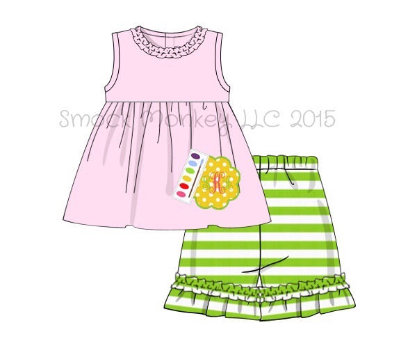 "Girl's applique ""PAINT BRUSH SET"" light pink swing top and lime green striped knit short set (NO MONOGRAM) (24m,2t,3t,7t,8t,10t)"