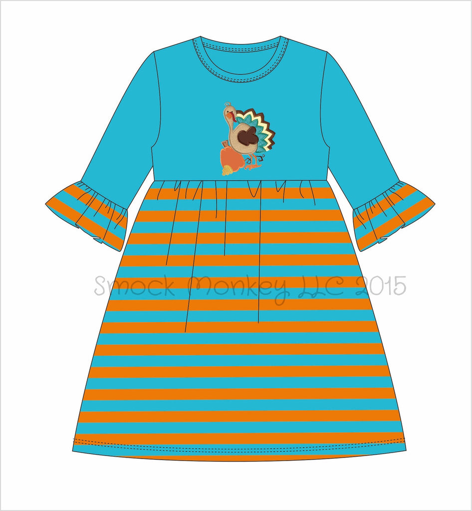 "Girl's applique ""GOBBLE, GOBBLE, TURKEY"" aqua with aqua/orange stripe bell sleeve swing dress*see desc (18m,24m,2t,5t)"