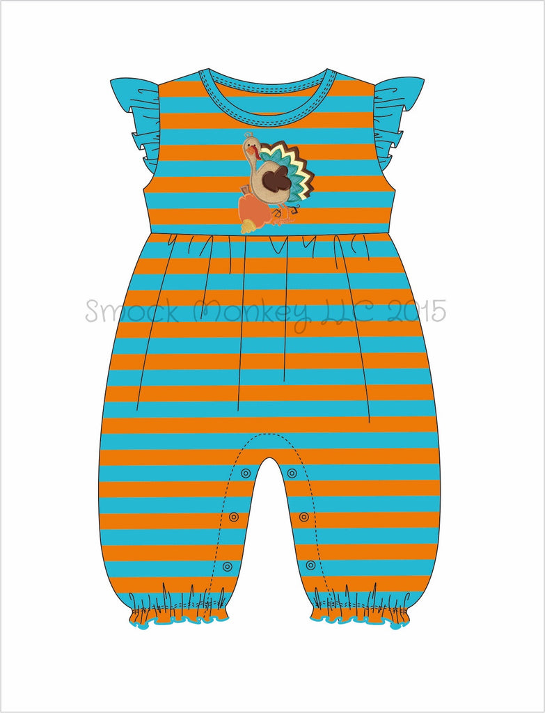 "Girl's applique ""GOBBLE, GOBBLE, TURKEY"" aqua/orange stripe angel wing bubble long romper*see desc (3m,6m,9m,12m,18m,24m,2t,3t,4t)"