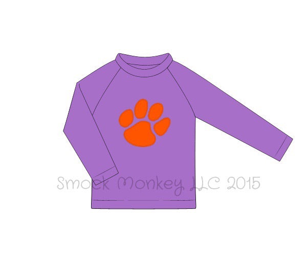 "Boy's applique ""PAW"" lavender long sleeve rash guard (9m,12m,7t,8t,10t)"