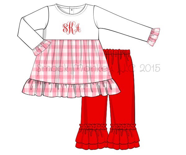 Girl's applique white knit swing top with pink gingham and red knit ruffle pants (NO MONOGRAM)