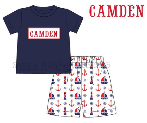 "Boy's ""blank smock plate"" navy short sleeve shirt and patterned ""ANCHORS AND SAILBOATS"" short set (4t)"