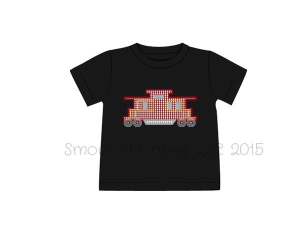 "Boy's applique ""CABOOSE"" black knit short sleeve shirt (24m,2t,3t,4t,5t,6t,7t)"