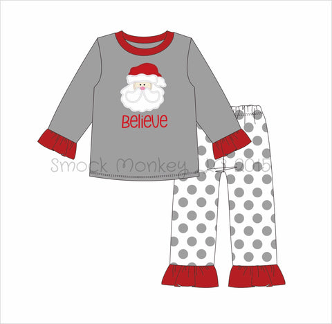 "Girl's appliqué ""SANTA BELIEVE"" gray shirt with polka dot pajama bottoms set (*3m,6m,9m,12m,18m,24m,3t,4t,6t,7t,8t,10t)"