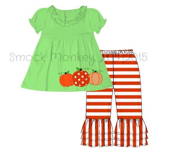 "Girl's applique ""THREE PUMPKINS"" lime green knit short sleeve swing top and orange striped Capri pants (3m,9m,12m,24m,4t)"