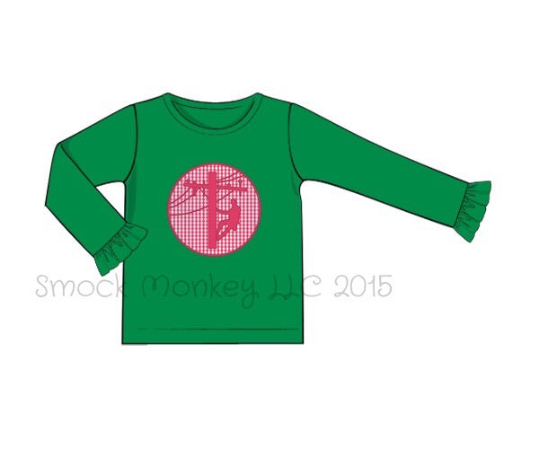 "Girl's applique ""LINEMAN"" green knit long sleeve shirt (12m,18m,24m,2t,4t,5t,7t)"